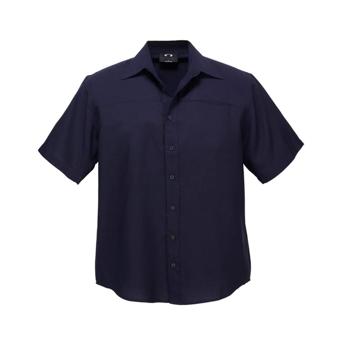 Mens Plain Oasis Short Sleeve Shirt-Navy