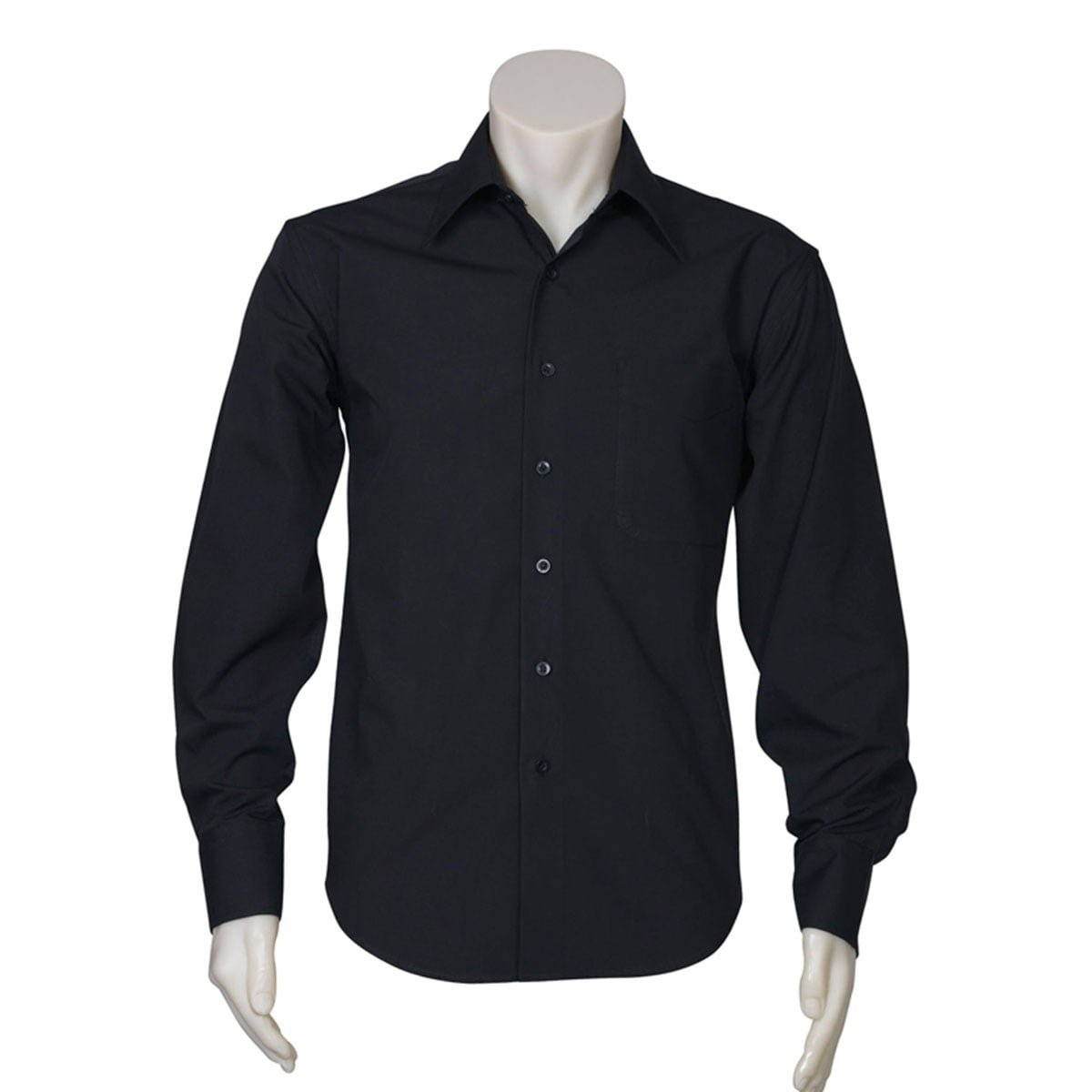 Mens Metro Long Sleeve Shirt-Black