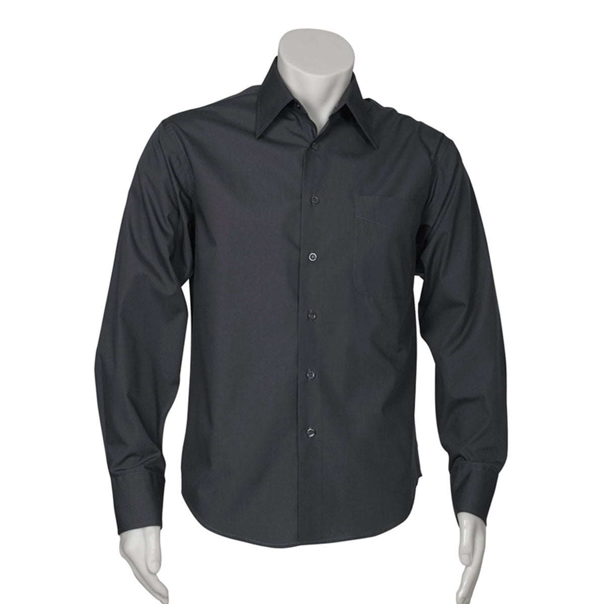 Mens Metro Long Sleeve Shirt-Charcoal