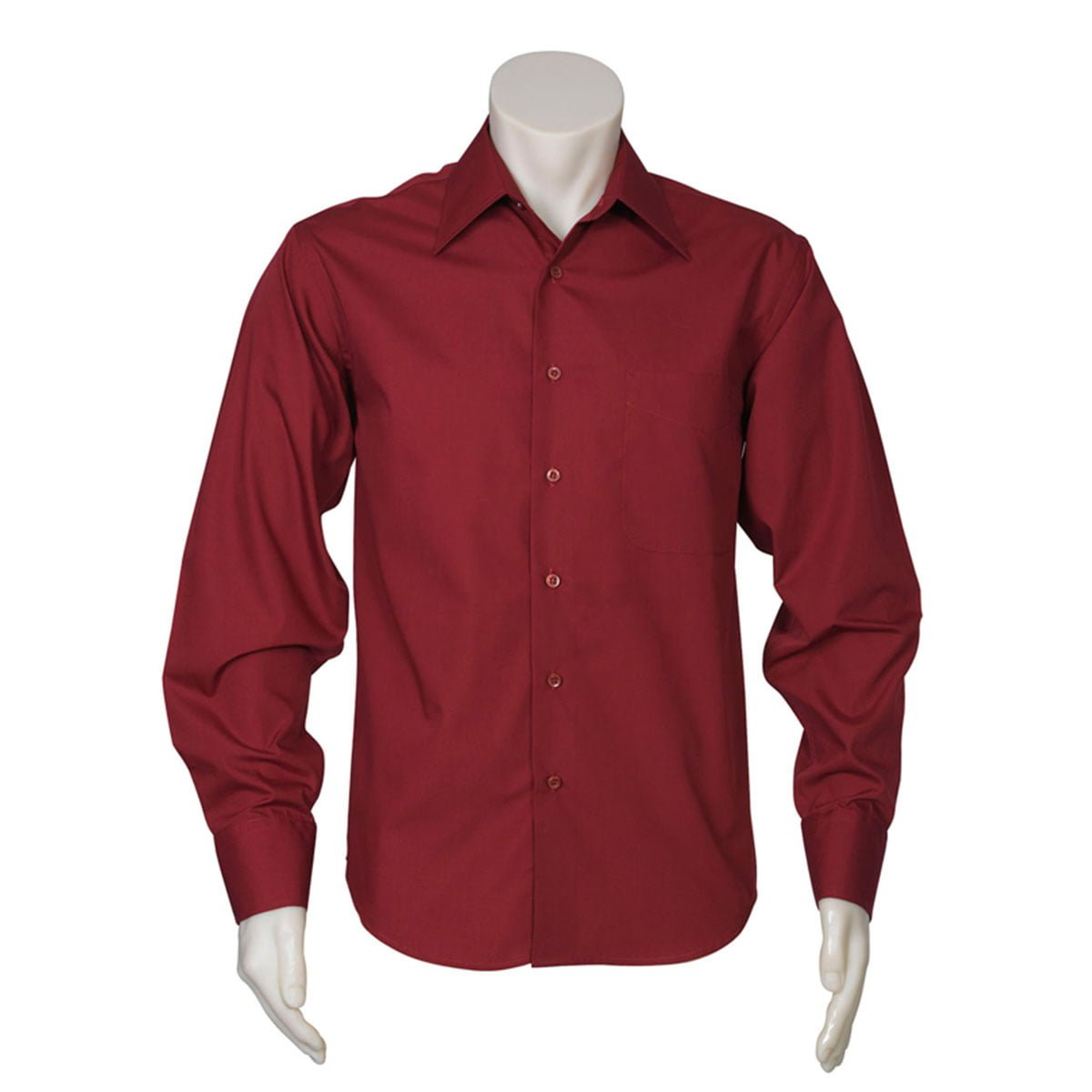 Mens Metro Long Sleeve Shirt-Cherry