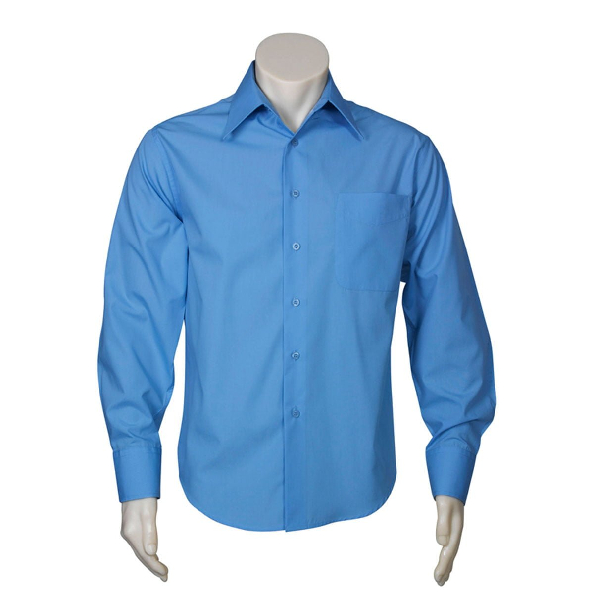 Mens Metro Long Sleeve Shirt-Mid Blue