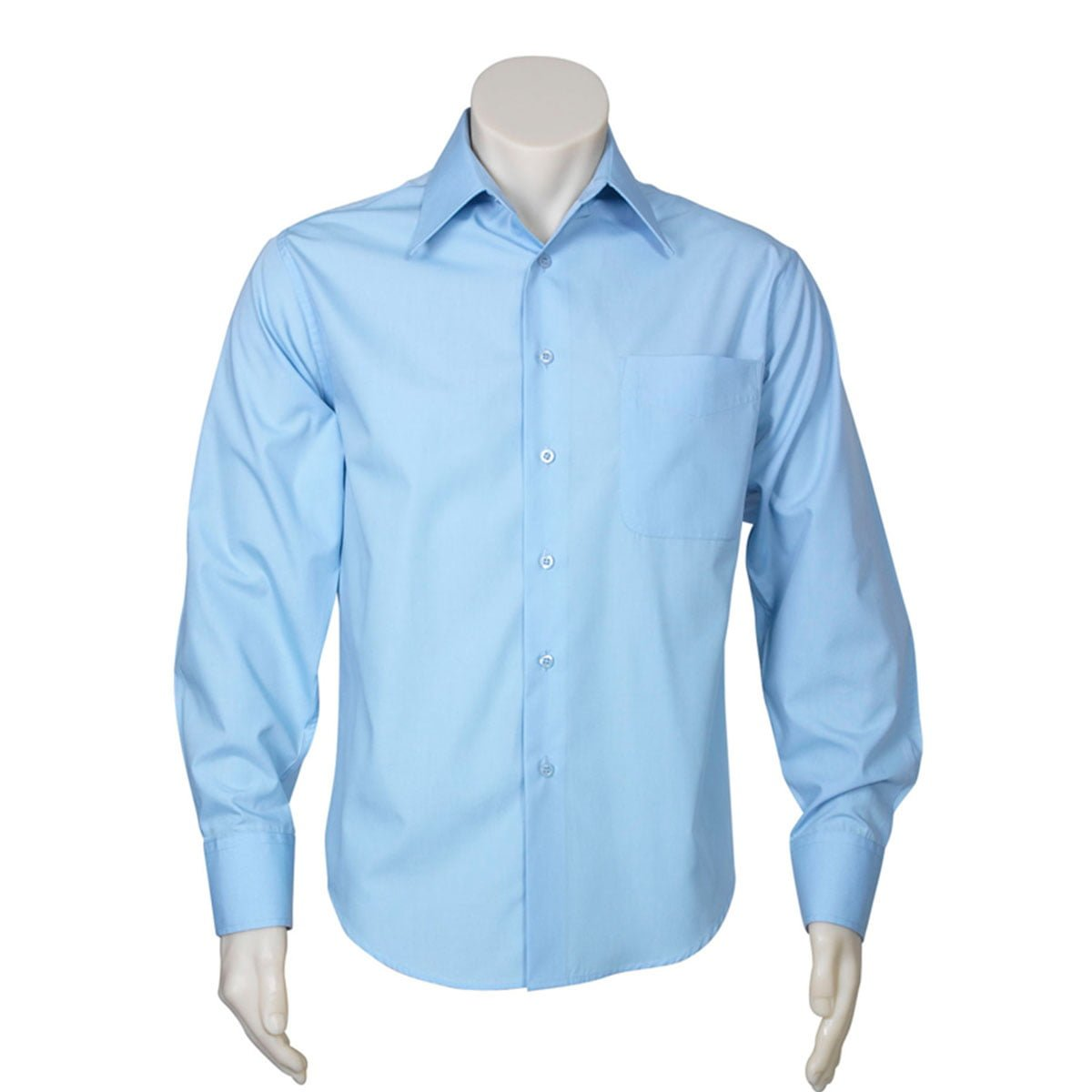 Mens Metro Long Sleeve Shirt-Sky