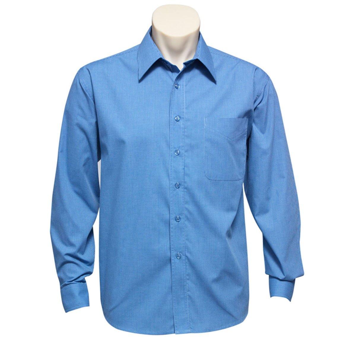 Mens Micro Check Long Sleeve Shirt-Mid Blue