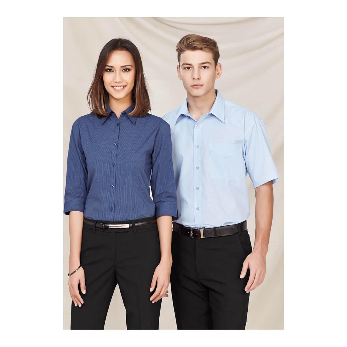 Mens Micro Check Short Sleeve Shirt
