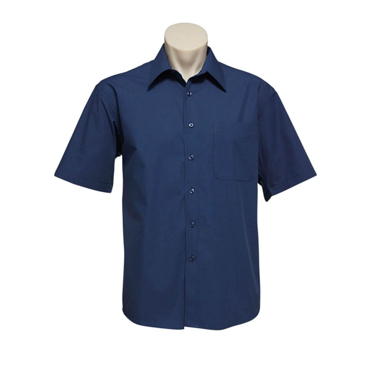 Mens Micro Check Short Sleeve Shirt-Navy