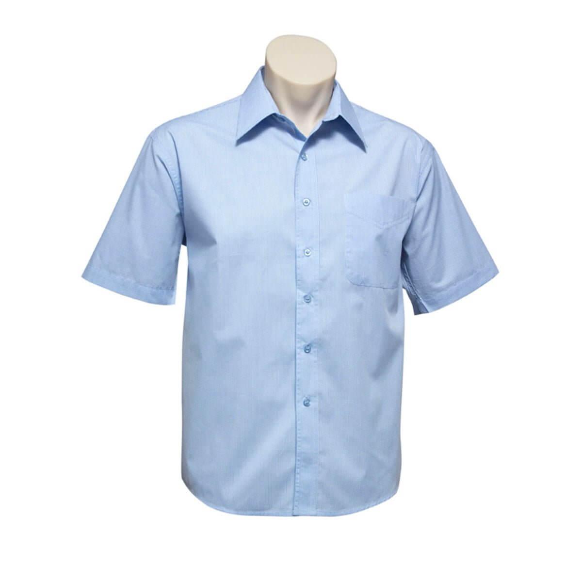 Mens Micro Check Short Sleeve Shirt-Sky