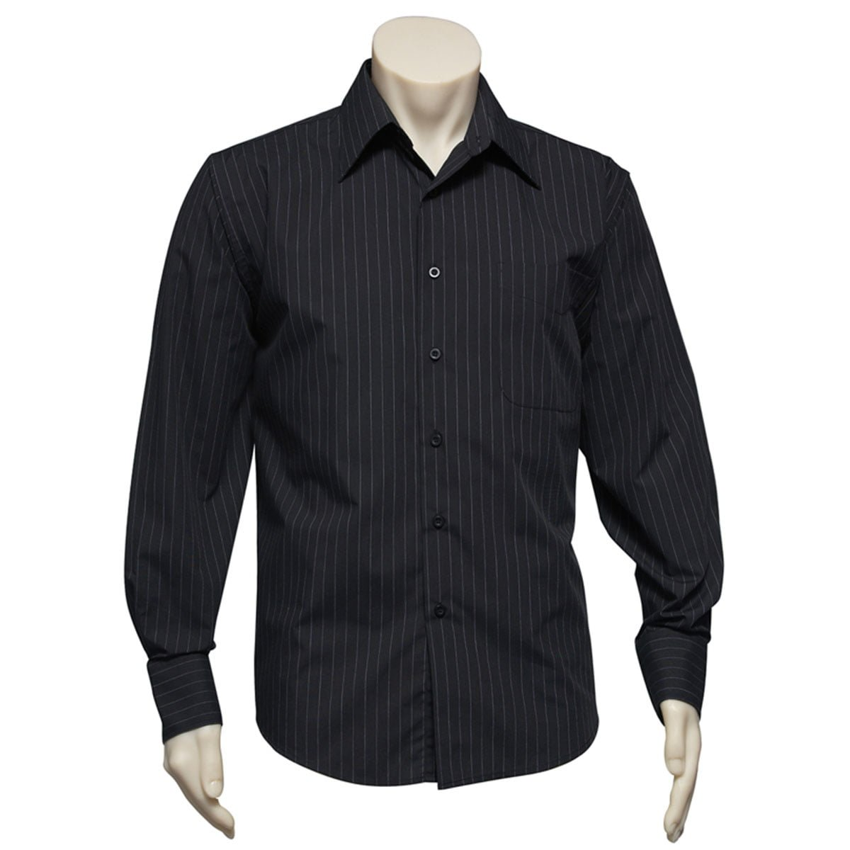 Mens Manhattan Long Sleeve Shirt-White / Black