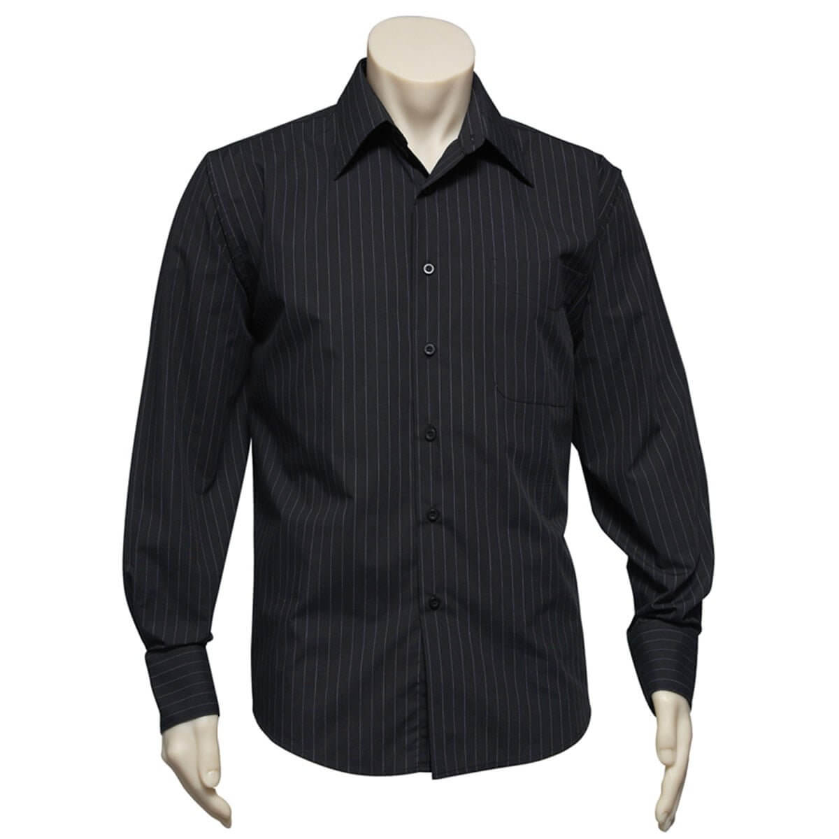Mens Manhattan Long Sleeve Shirt-Black / White