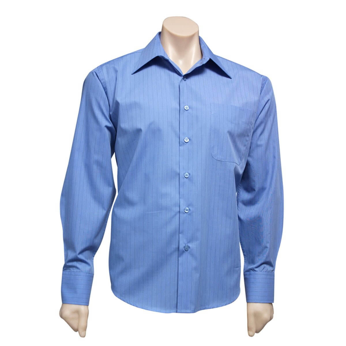 Mens Manhattan Long Sleeve Shirt-Mid Blue / Navy