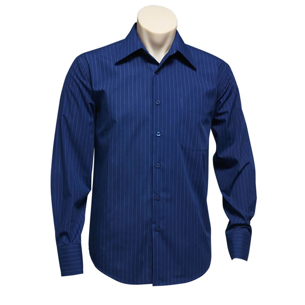 Mens Manhattan Long Sleeve Shirt-French Blue / White