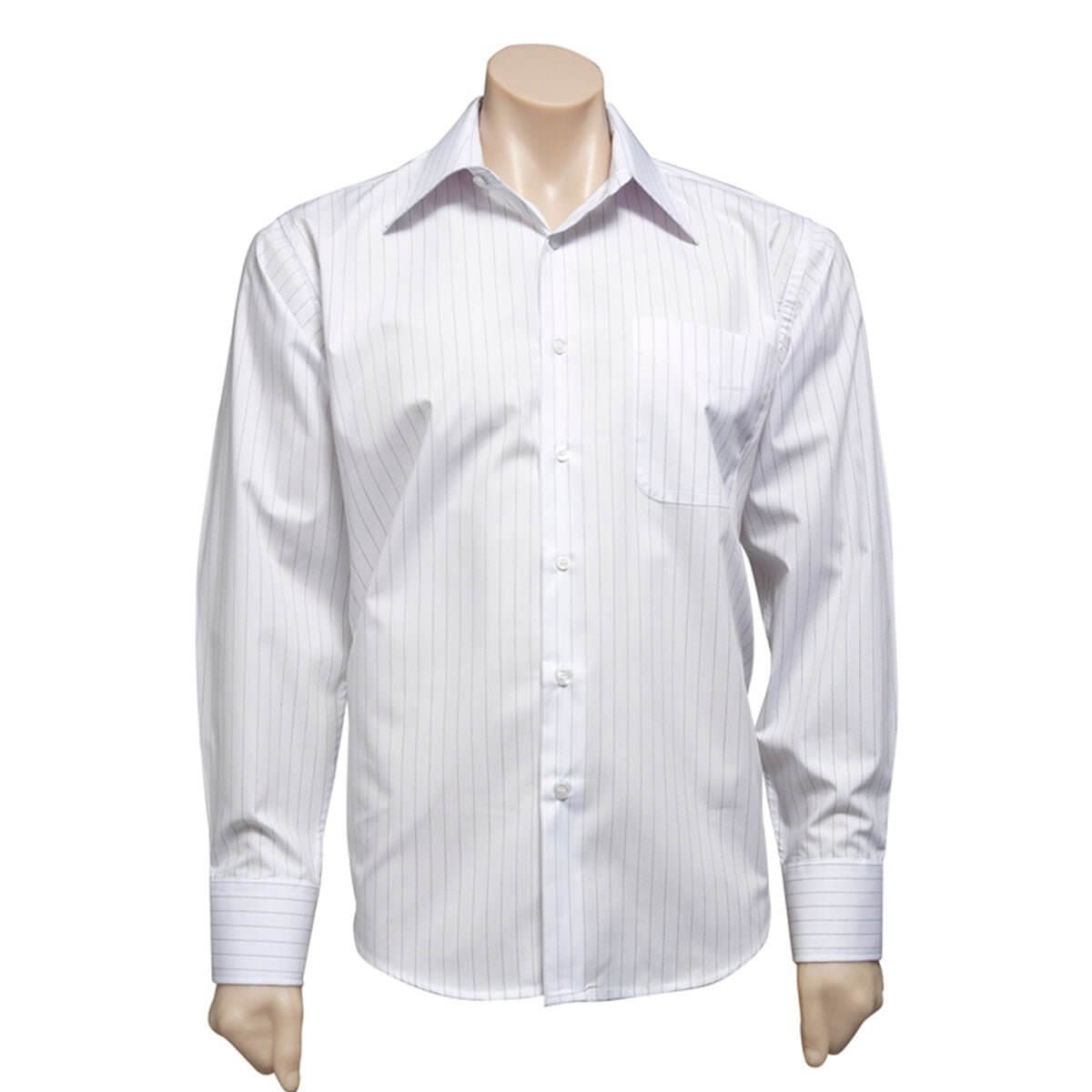 Mens Manhattan Long Sleeve Shirt-White / Black