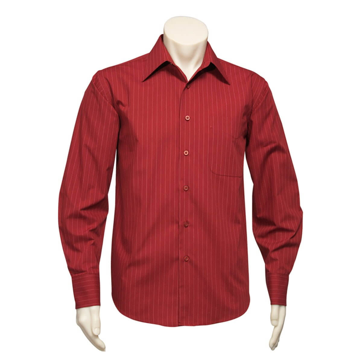 Mens Manhattan Long Sleeve Shirt-Cherry / White