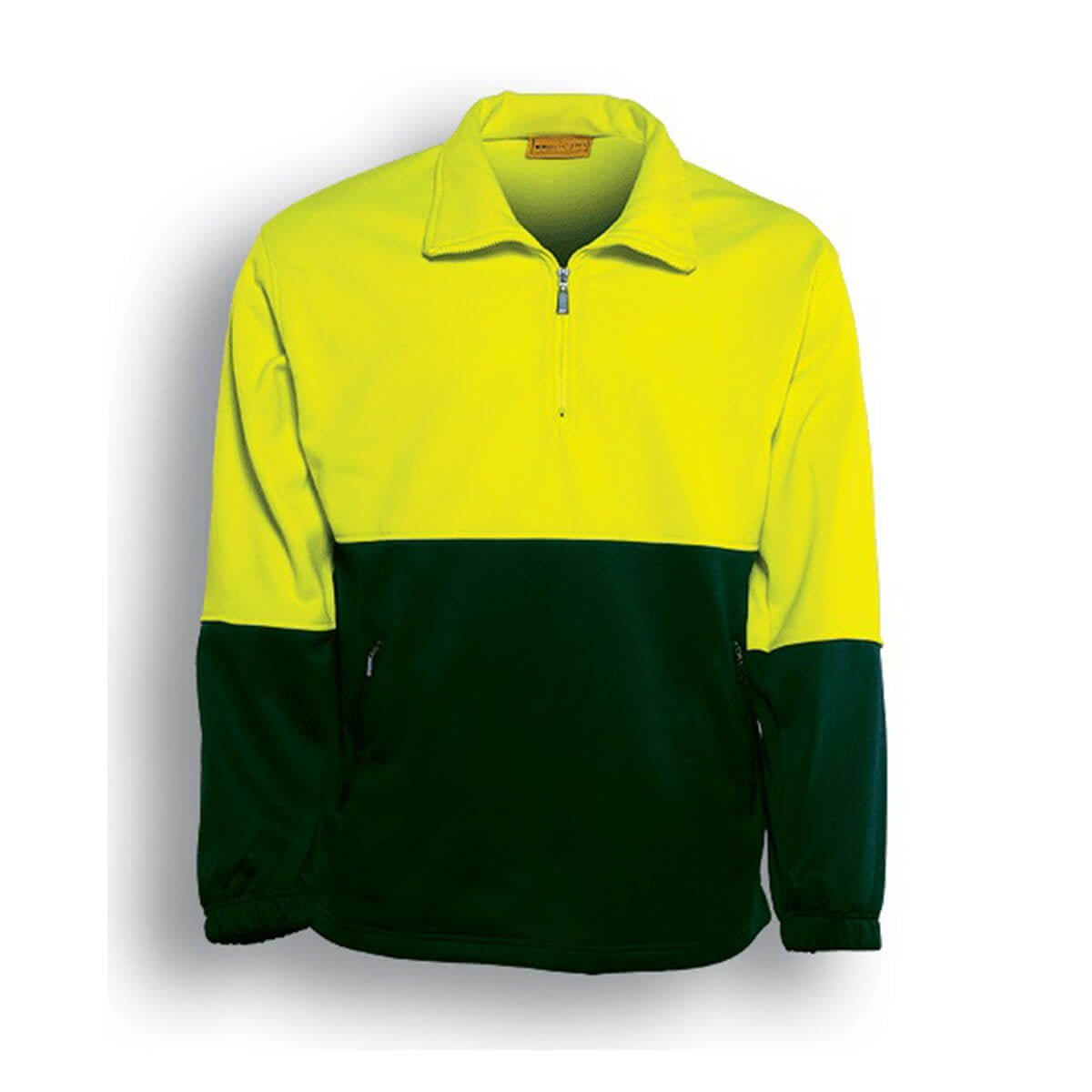 HI-VIS 1/2 ZIP FLEECE-Lime / Bottle
