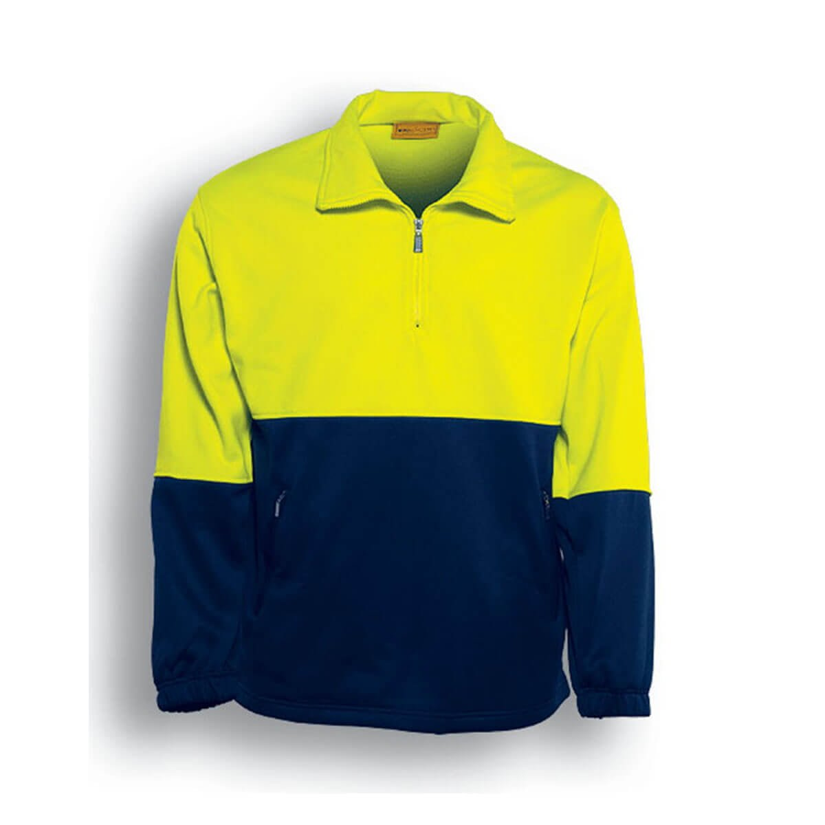 HI-VIS 1/2 ZIP FLEECE-Lime / Navy