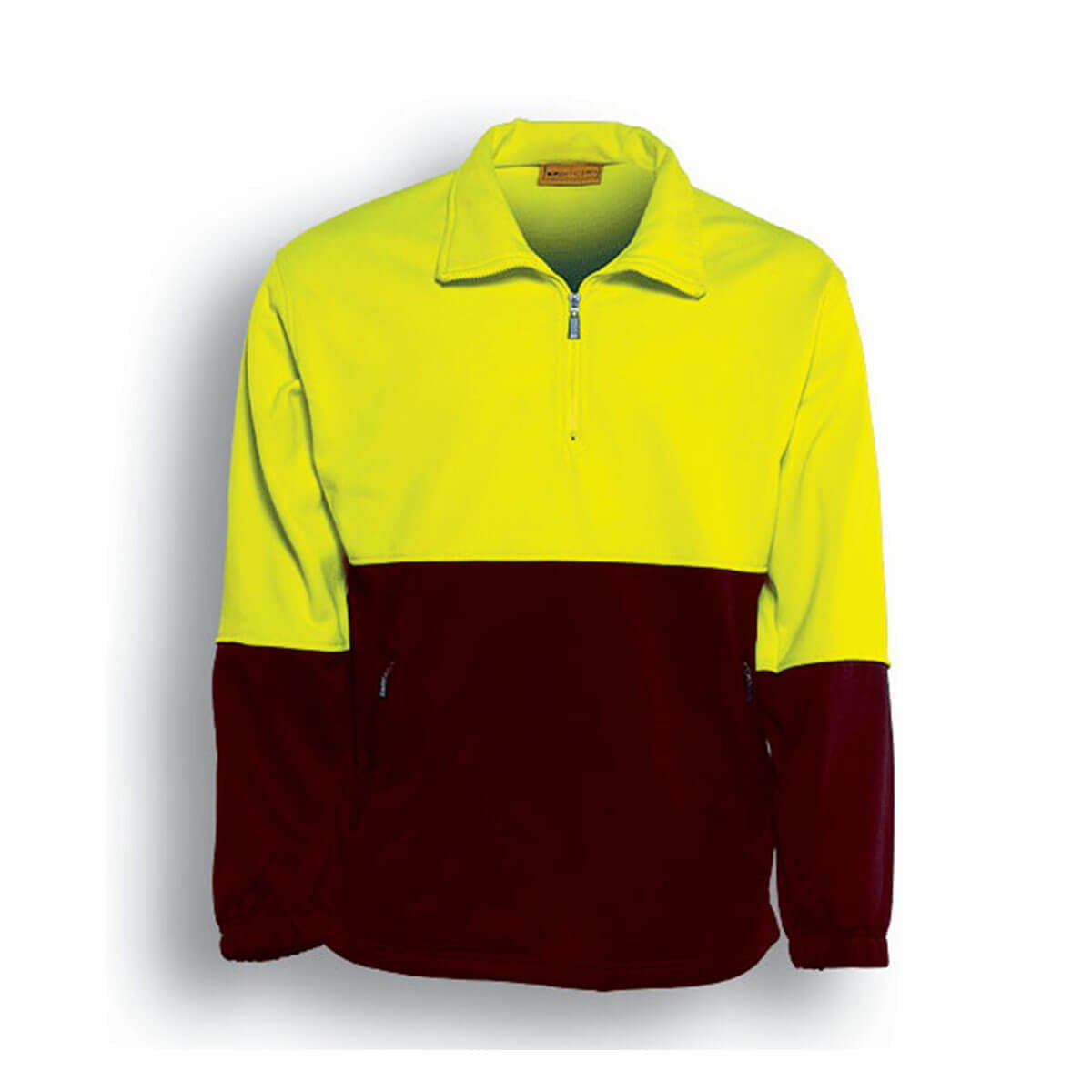 HI-VIS 1/2 ZIP FLEECE-Lime / Maroon