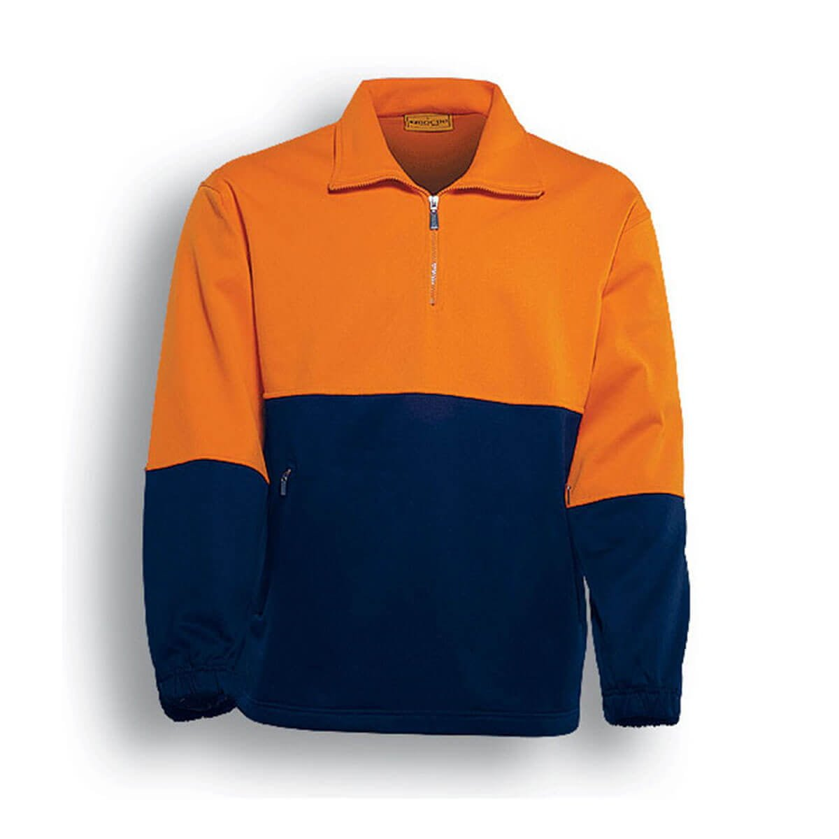 HI-VIS 1/2 ZIP FLEECE-Orange / Navy