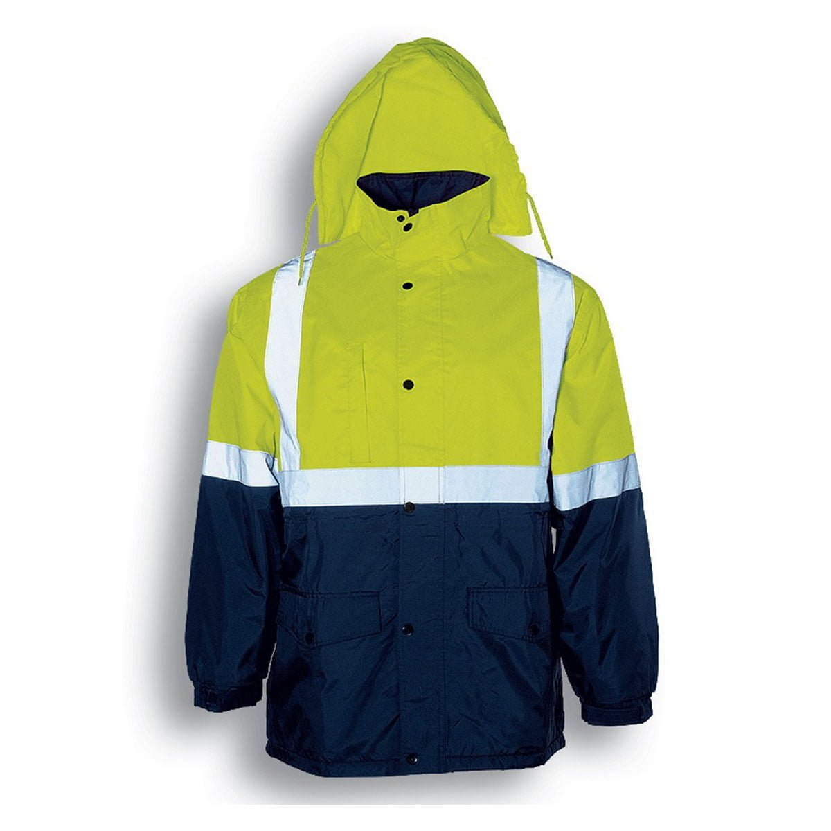 HI-VIS POLAR FLEECE LINED JACKET WITH TAPE-Lime / Navy