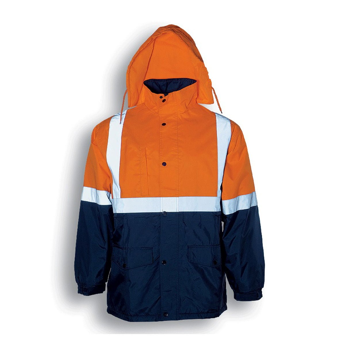 HI-VIS POLAR FLEECE LINED JACKET WITH TAPE-Orange / Navy