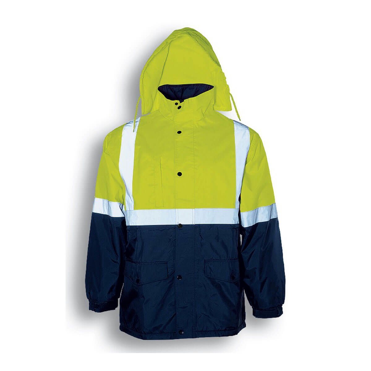 HI-VIS MESH LINING JACKET WITH REFLECTIVE TAPE-Lime / Navy