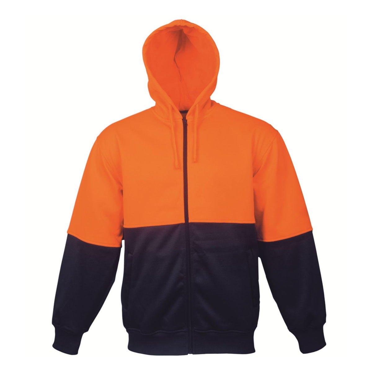 HI-VIS FLEECE HOODIE-Orange / Navy