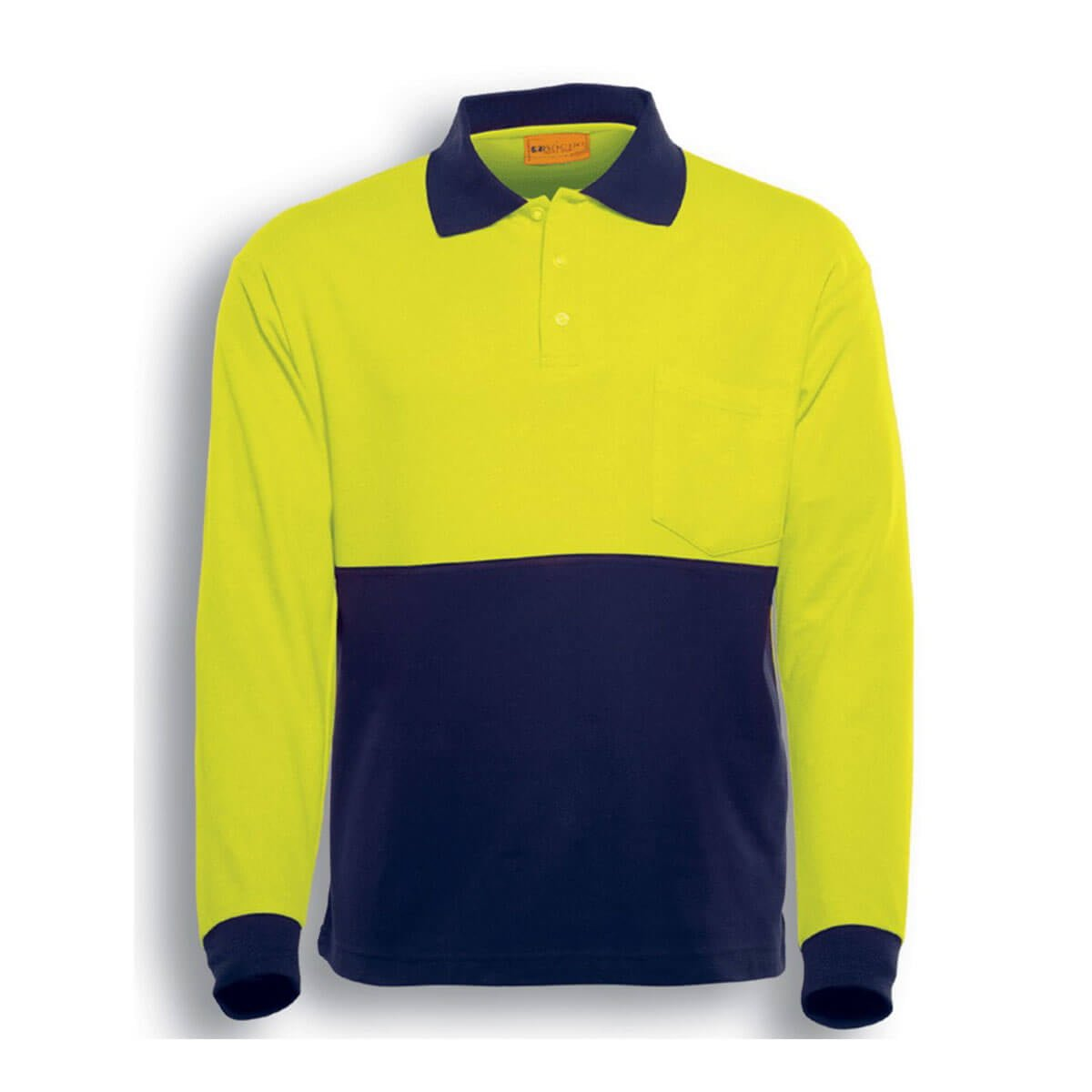 HI-VIS POLY/COTTON POLO -LONG SLEEVE-Lime / Navy