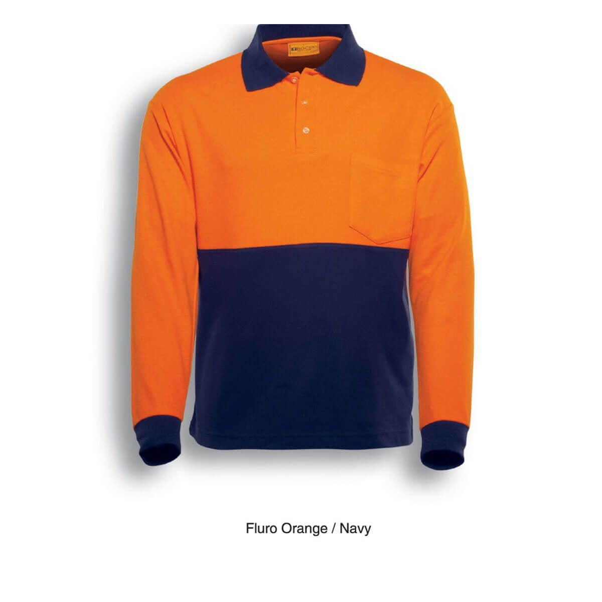 HI-VIS POLY/COTTON POLO -LONG SLEEVE-Orange / Navy