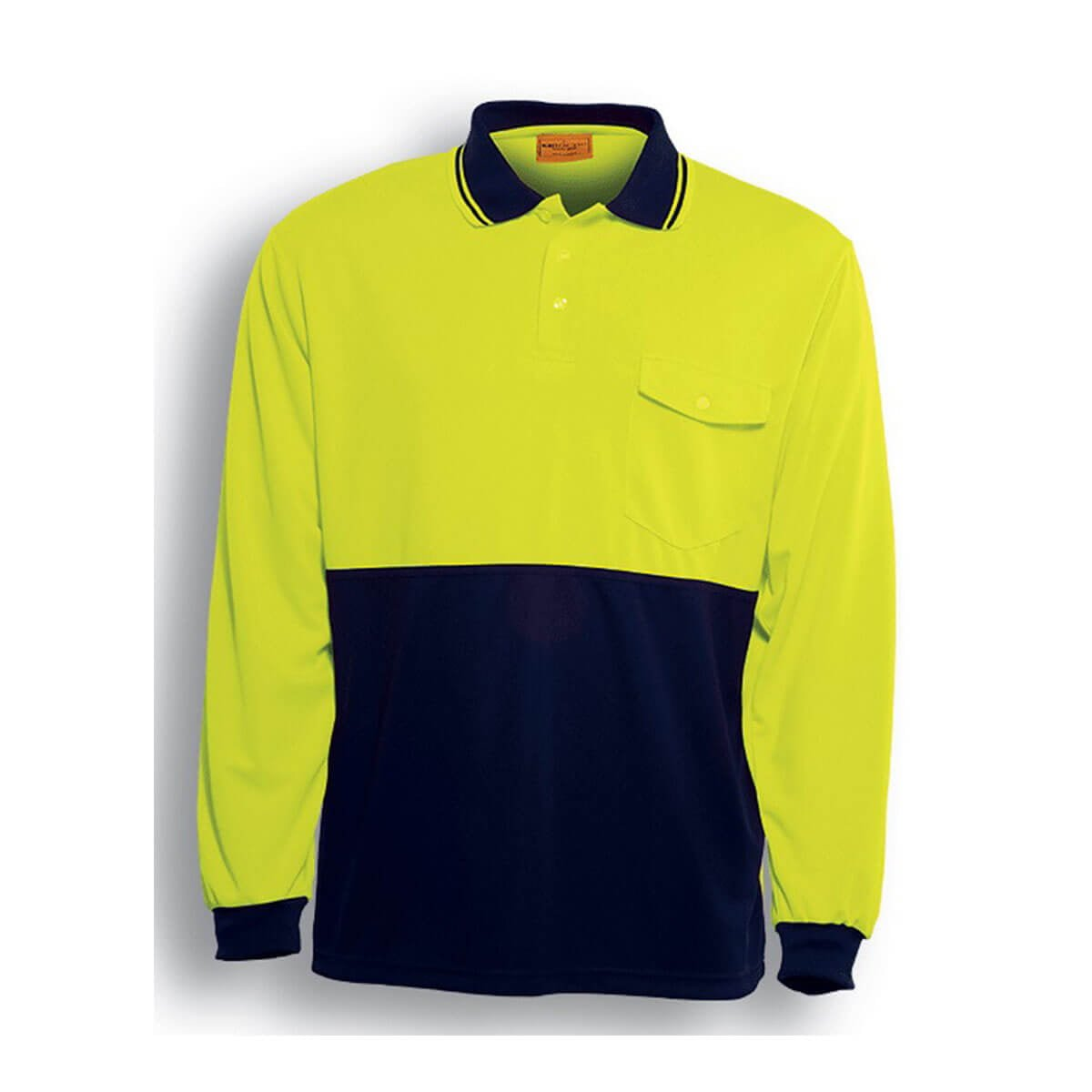 HI-VIS SAFETY POLO – LONG SLEEVE-Lime / Navy