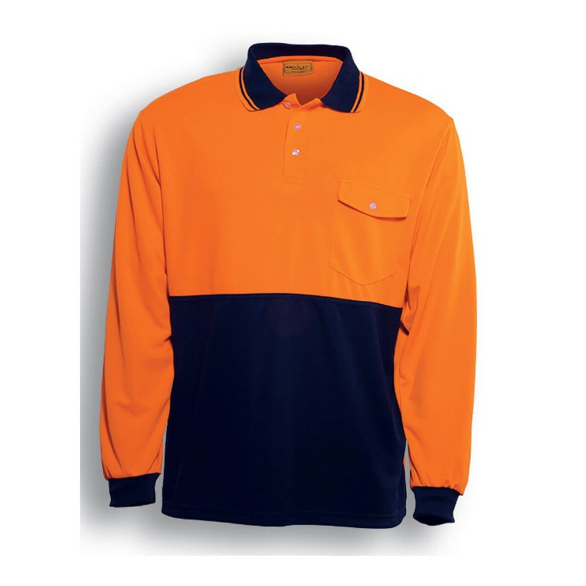 HI-VIS SAFETY POLO – LONG SLEEVE-Orange / Navy