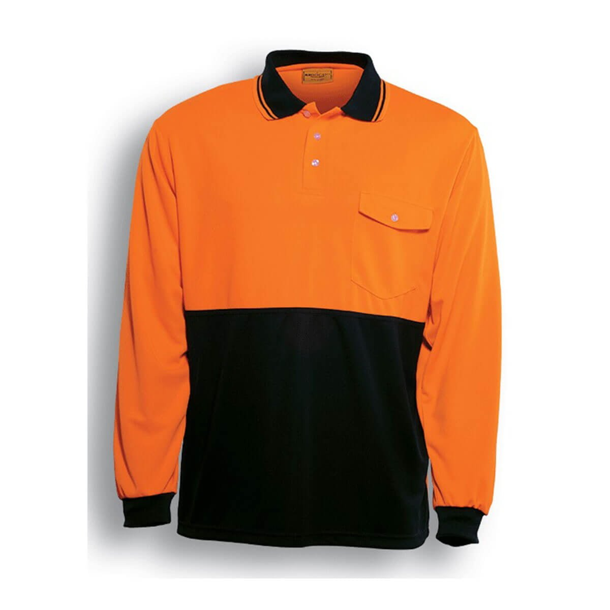 HI-VIS SAFETY POLO – LONG SLEEVE-Orange / Black