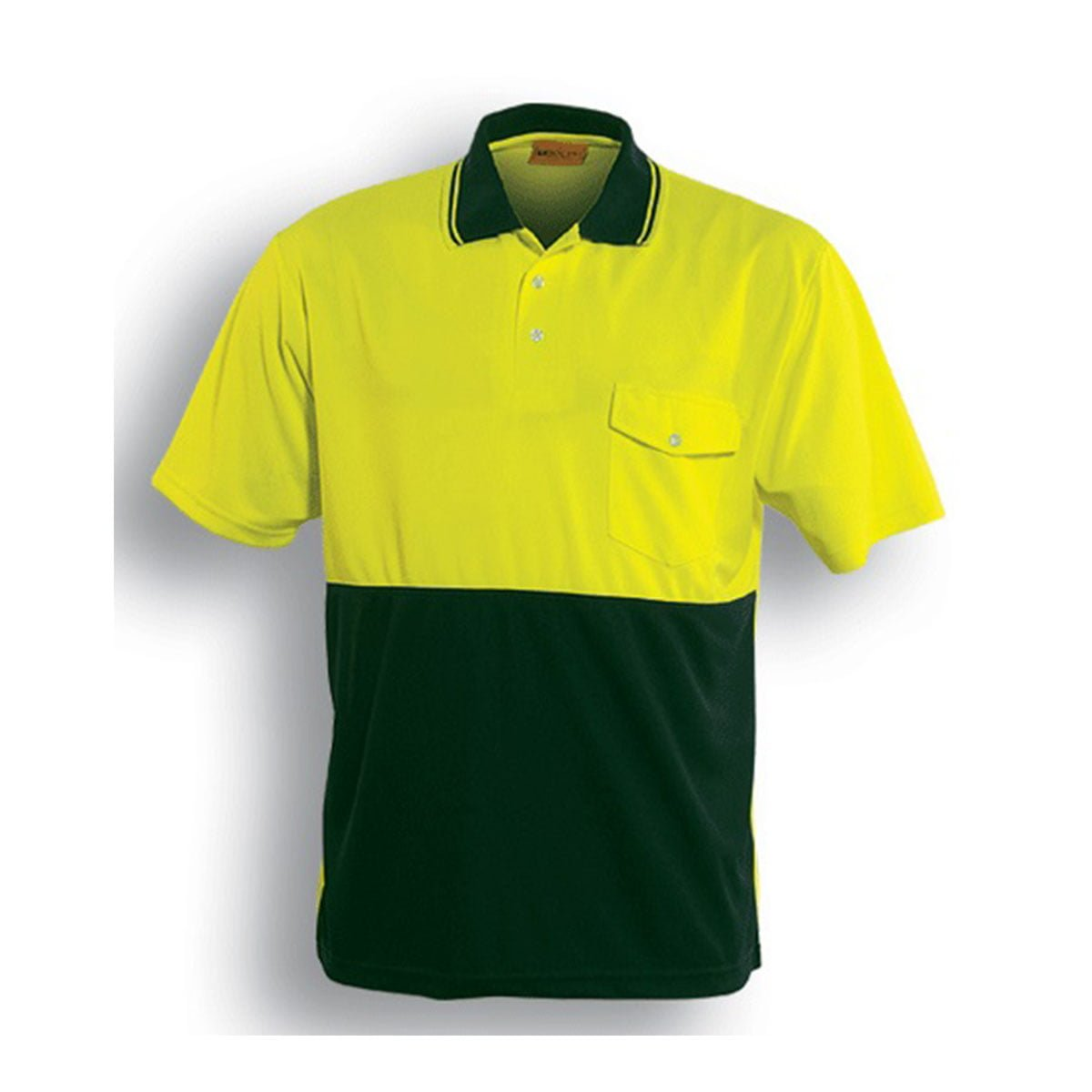 HI-VIS SAFETY POLO – SHORT SLEEVE-Lime / Bottle