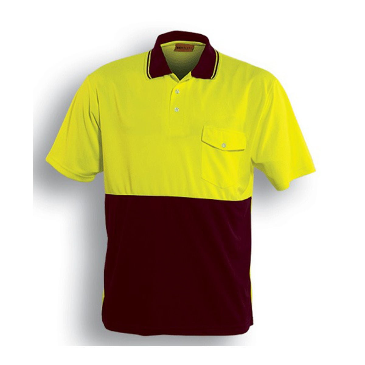 HI-VIS SAFETY POLO – SHORT SLEEVE-Lime / Maroon