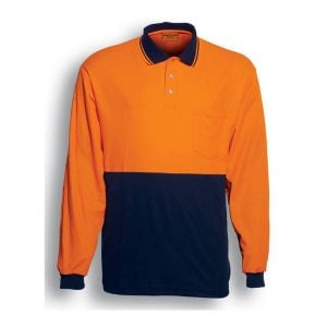 HI-VIS POLYFACE/COTTON BACK POLO - L/S