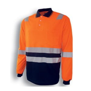 HI-VIS POLYFACE/COTTON BACK POLO WITH TAPE - L/S