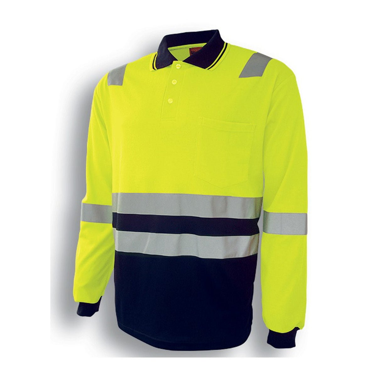 HI-VIS POLYFACE/COTTON BACK POLO WITH TAPE – L/S-Lime / Navy