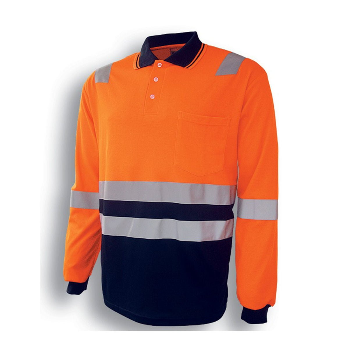 HI-VIS POLYFACE/COTTON BACK POLO WITH TAPE – L/S-Orange / Navy