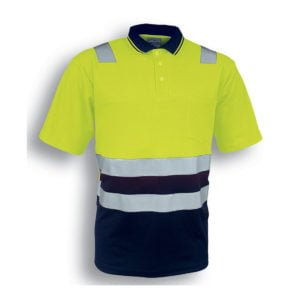 HI-VIS POLYFACE/COTTON BACK POLO WITH TAPE - S/S