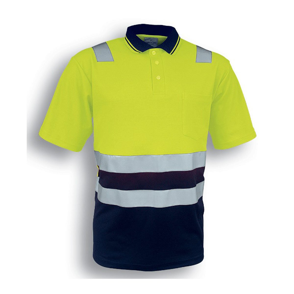 HI-VIS POLYFACE/COTTON BACK POLO WITH TAPE – S/S-Lime / Navy