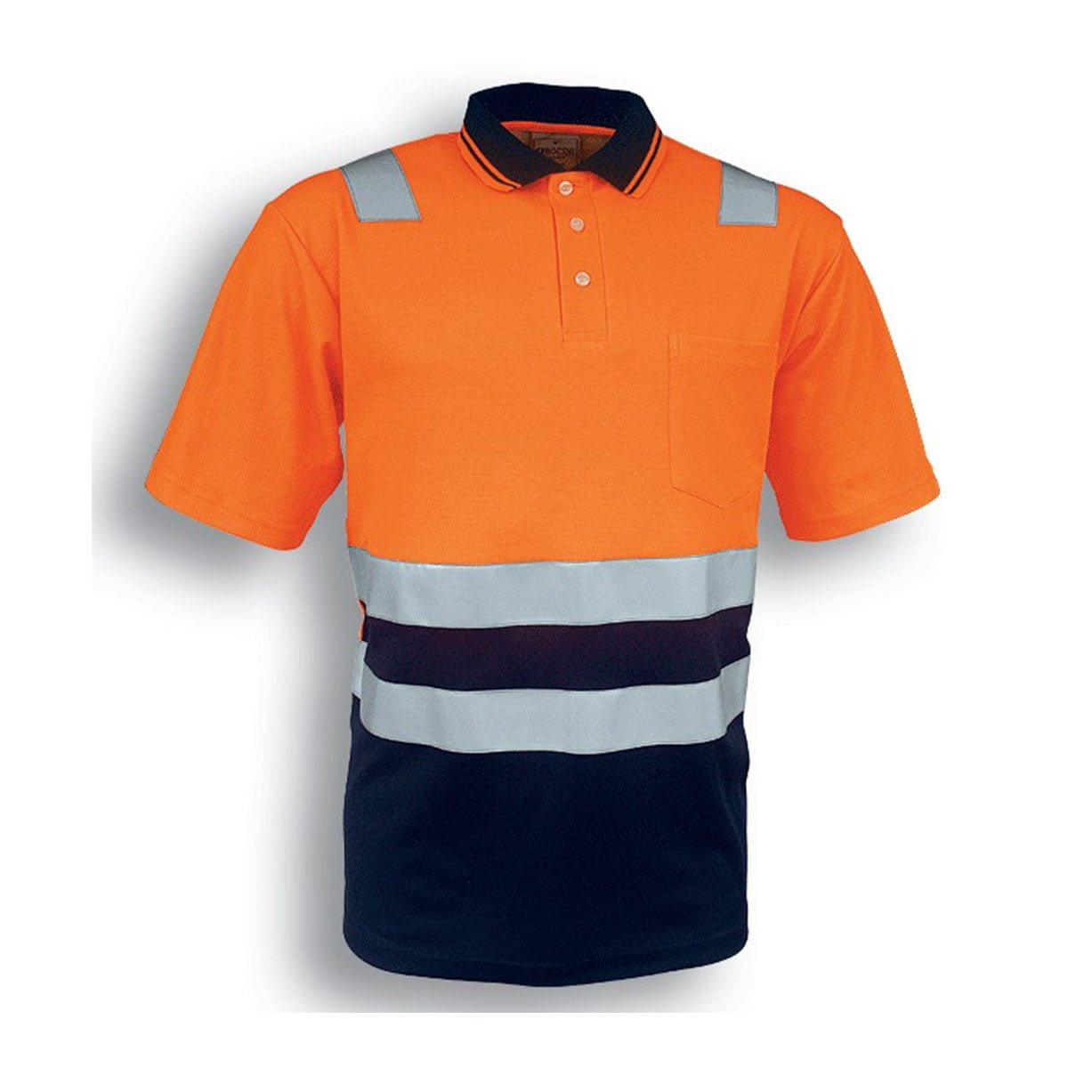 HI-VIS POLYFACE/COTTON BACK POLO WITH TAPE – S/S-Orange / Navy
