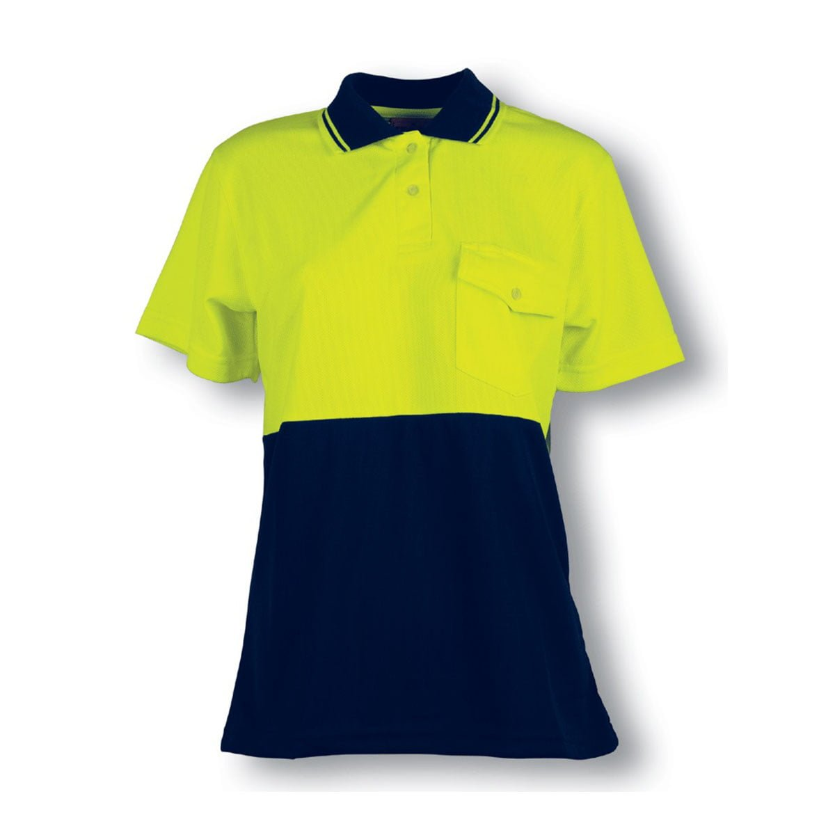 LADIES HI-VIS SAFETY POLO-Lime / Navy