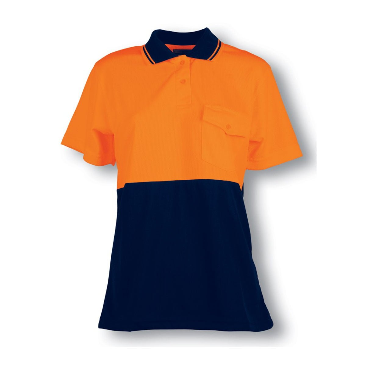 LADIES HI-VIS SAFETY POLO-Orange / Navy