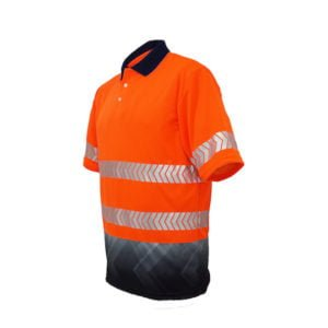 HI-VIS S/S SUBLIMATED REFLECTIVE POLO - Orange / Navy