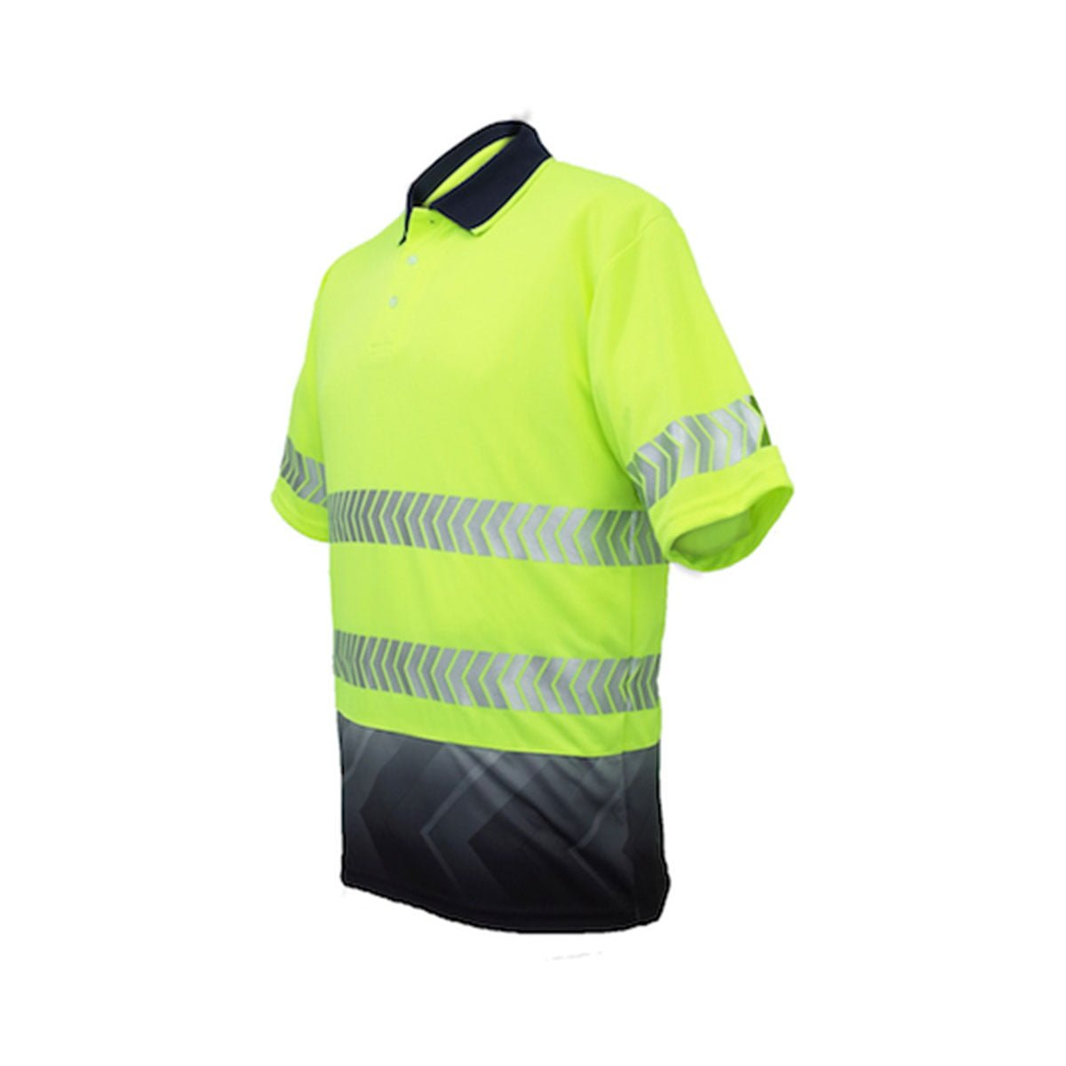 HI-VIS S/S SUBLIMATED REFLECTIVE POLO-Lime / Navy