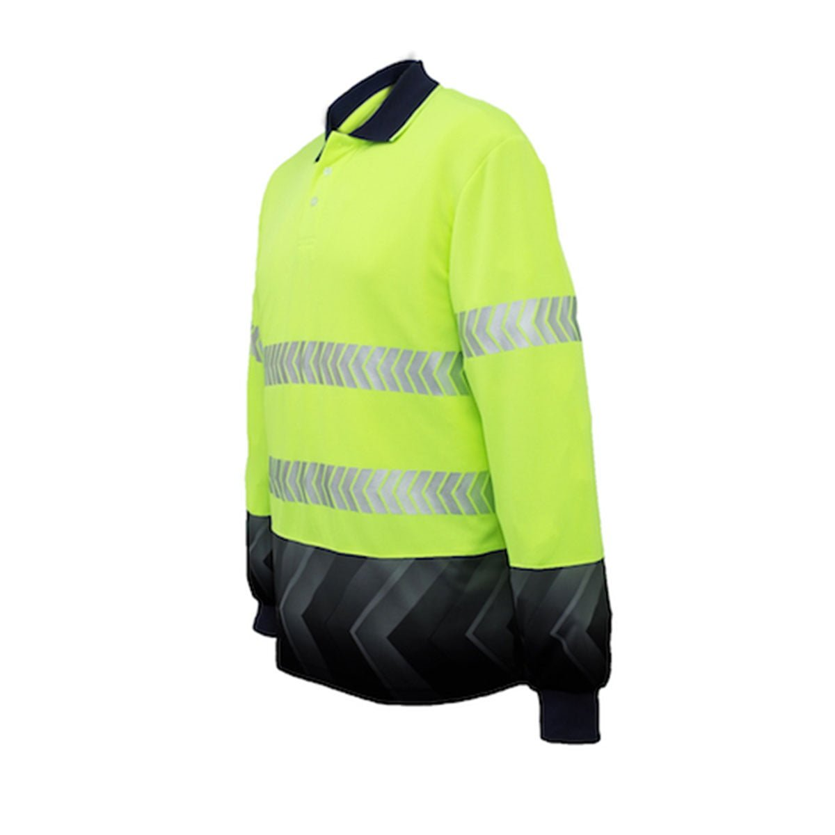HI-VIS L/S SUBLIMATED REFLECTIVE POLO-Lime / Navy