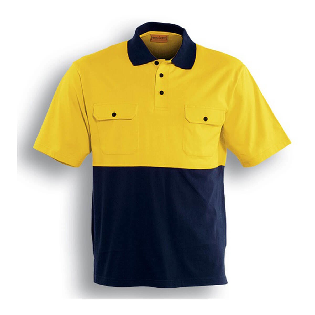 HI-VIS COTTON JERSEY POLO S/S-Lime / Navy