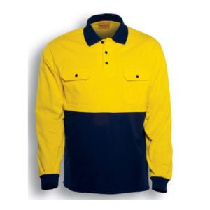 HI-VIS COTTON JERSEY POLO L/S - Orange / Navy