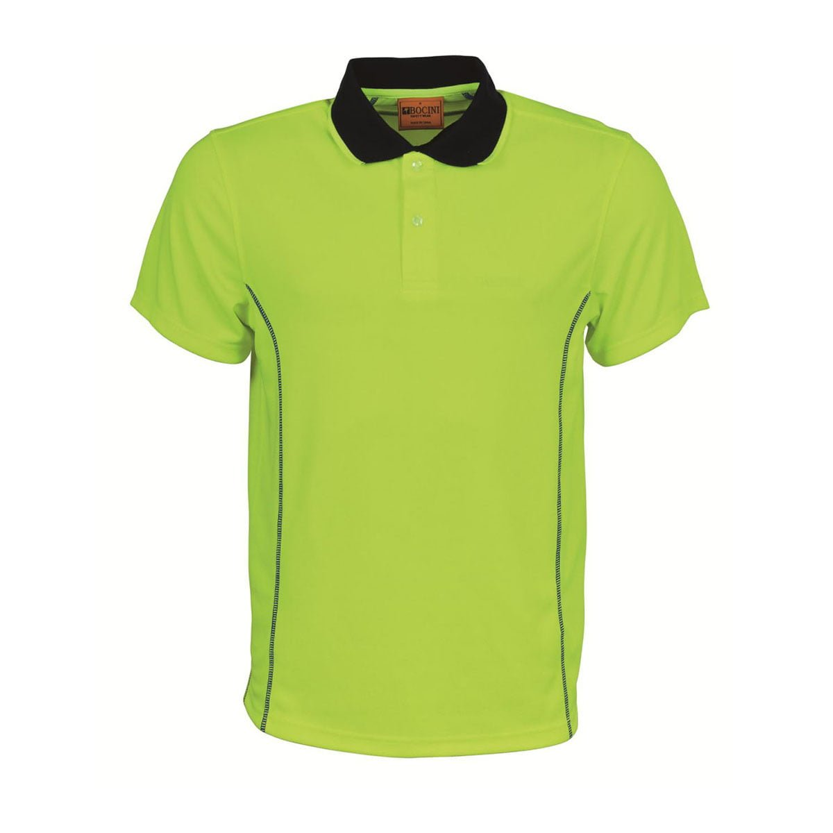 STITCH ESSENTIALS-MENS HI VIS POLO-Lime / Navy