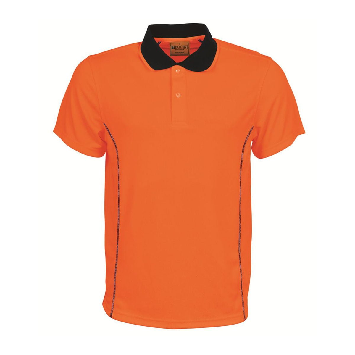 STITCH ESSENTIALS-MENS HI VIS POLO-Orange / Navy