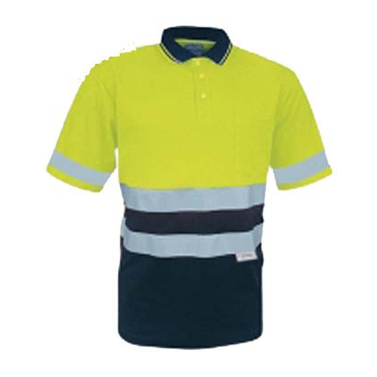 HI-VIS POLYFACE/COTTON BACK POLO WITH 3M TAPE -S/S-Lime / Navy