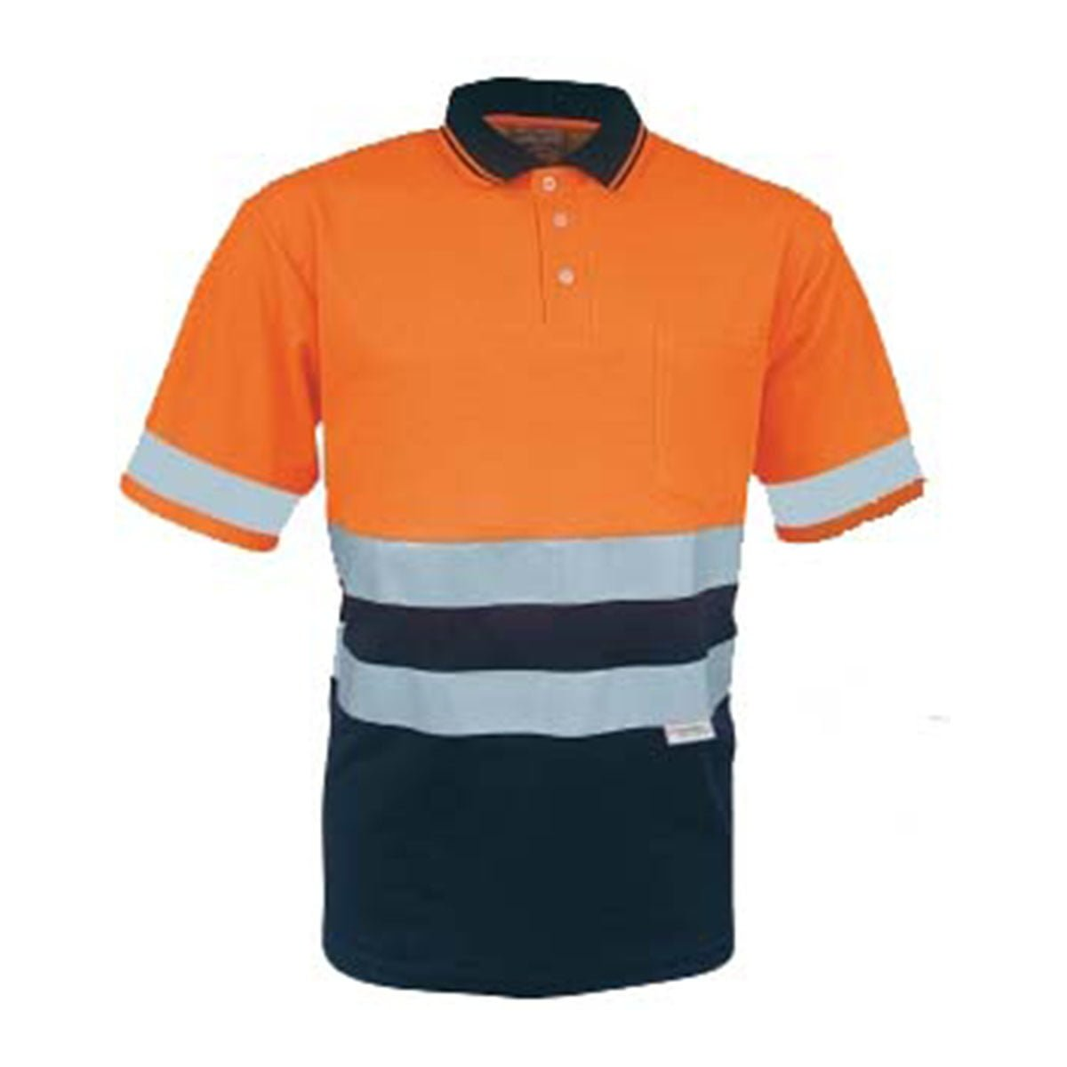HI-VIS POLYFACE/COTTON BACK POLO WITH 3M TAPE -S/S-Orange / Navy