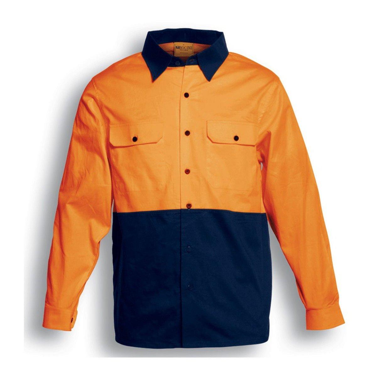 HI-VIS COTTON TWILL SHIRT L/S-Orange / Navy